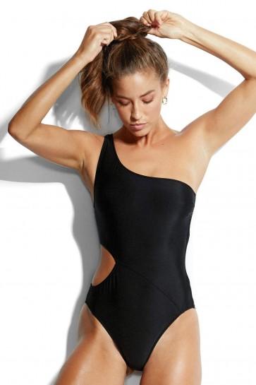 Active בגד ים שלם מחטב על, כתף אחת שחור