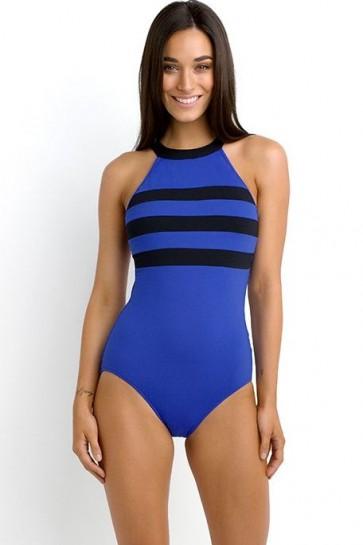 בגד ים שלם עם צואר גבוה, ,תוספת ברזלים לתמיכה טובה לחזה גודל, קאפ  DD/F מסדרת Block Party