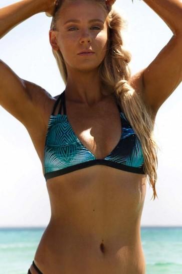 Sundancer - ביקיני ברזילאי עליון בהדפס טרופי עם שחורה וצמה בגב
