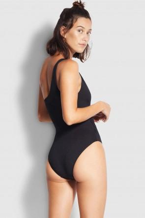 Spliced בגד ים שלם מחטב על, כתף אחת שחור
