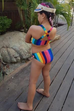 Rainbow ביקיני ספורטיבי פסים לילדות ולנערות