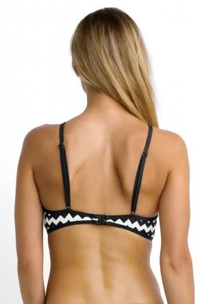 Mod.com Club Seafolly ביקיני ספורטיבי עם צוואר גבוה,קאפ נשלף, בהדפס גיאומירי שחור לבן