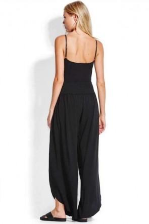 Rib בגד גוף Sun מכנסון קייץ ארוך שחור