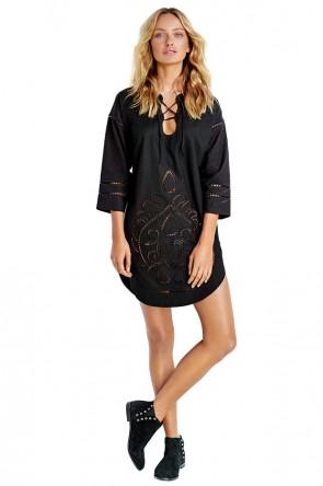 Lace Front Cutwork שמלת חוף או למסיבת בריכה קלילה מפשתן עם תחרה צבע שחור