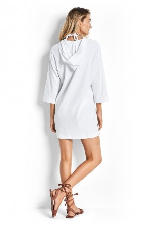 White Lace Up – שמלת חוף לבנה עם קפוצ'ון