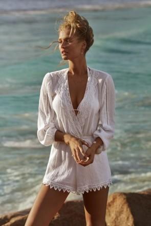 Love Bird אוברול חוף עם שרוול ארוך