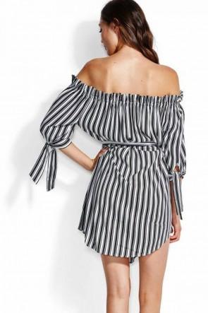 Midsummer שמלת פסים מיני אוורירית, כתפיים חשופות