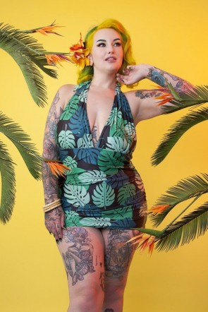 Green Palm בגד ים שלם מחטב על בגזרת חצאית