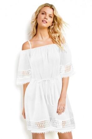 Lace Hem שמלת חוף לבנה כותנה ותחרה, שרוולים קצרים